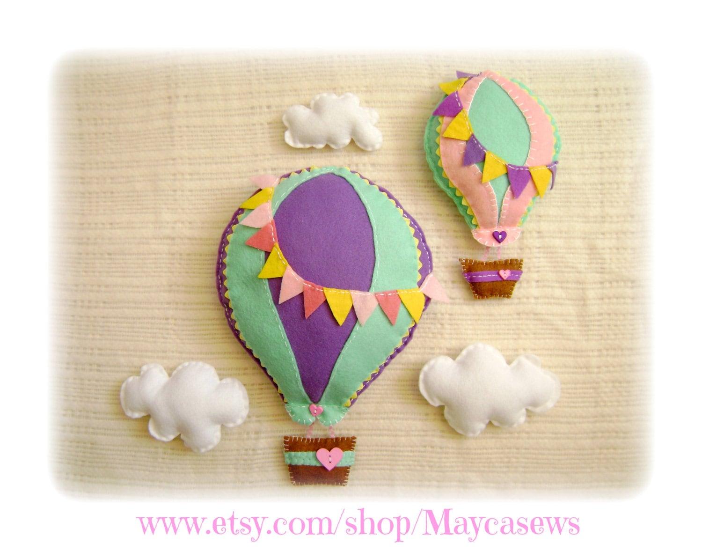 Hot Air Balloon Set. 3D Wall Decor. For Nursery Or Kids