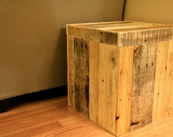 Reclaimed pallet wood storage ottoman, natural, handmade, rustic furniture
