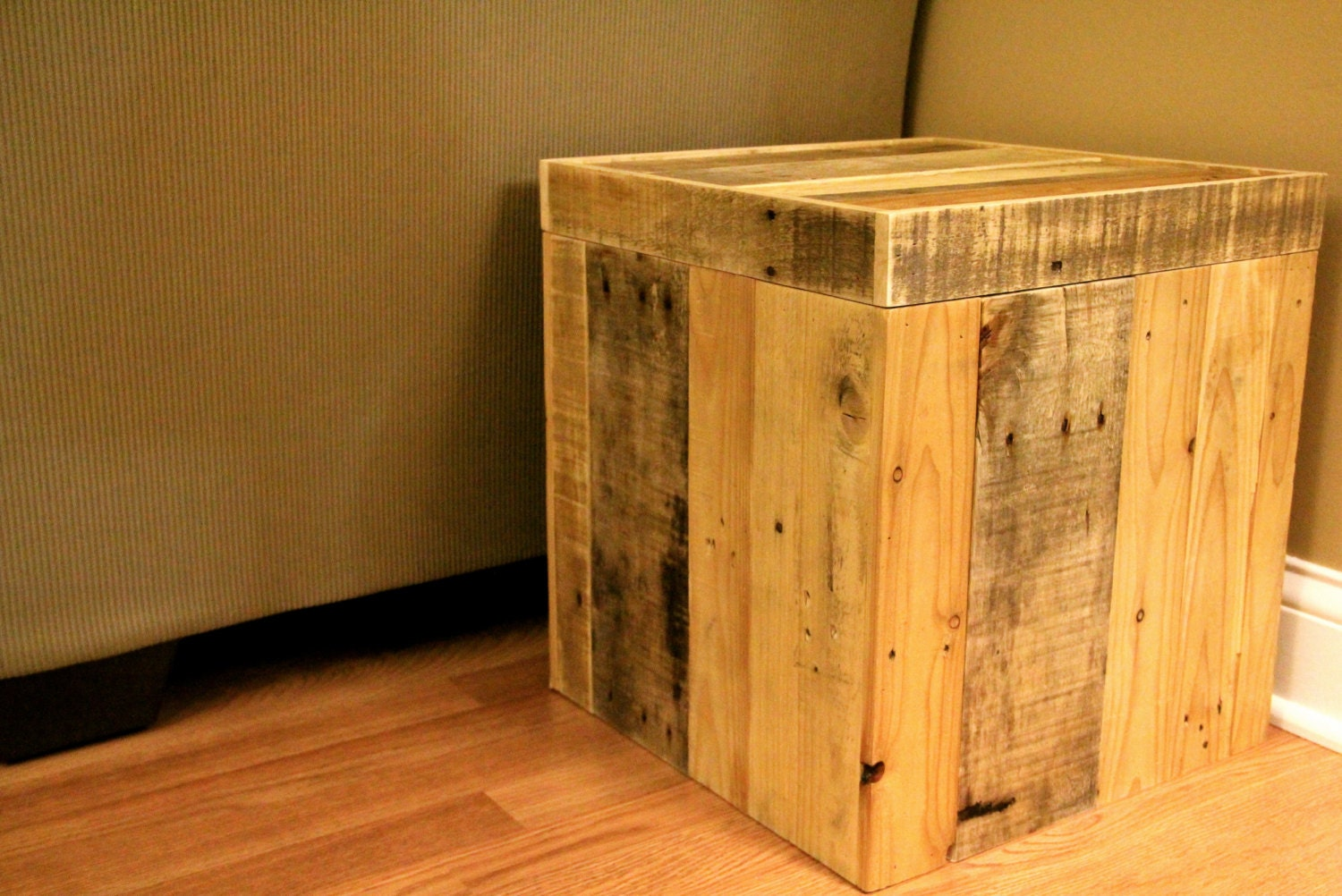 Reclaimed Wood Ottoman ~ Reclaimed pallet wood storage ottoman natural by fasprojects