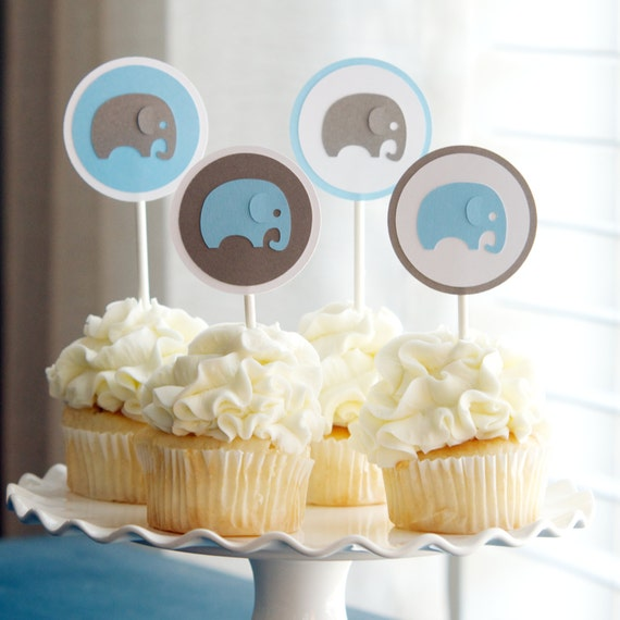 Baby shower decoration boy elephant cupcake by sparkanddelight for Baby shower function decoration
