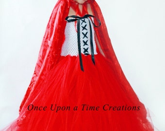 Little Red Riding Hood Tutu Dress - Red and White Pageant or Holiday Gown - Halloween Costume - Girls Size 12M 2T 3T 4T 5T 6 7 8 10 12