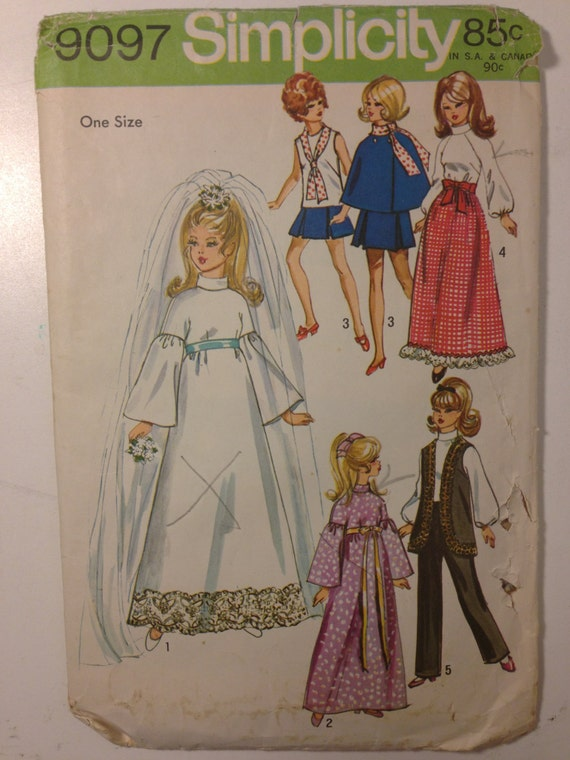 Simplicity 70s Pattern 9097 Barbie Doll Wardrobe Sale