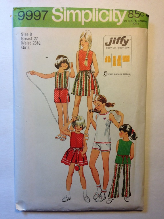 Simplicity 70s Sewing Pattern 9997 Girls Jiffy Shorts or Bell Bottom Pants, Top and Wrap Skirt Size 8