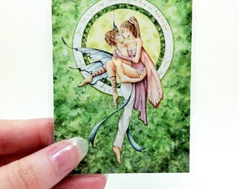 Fairy Art ACEO Card - Romantic Faerie Couple Trading Card Print by Sarah Alden