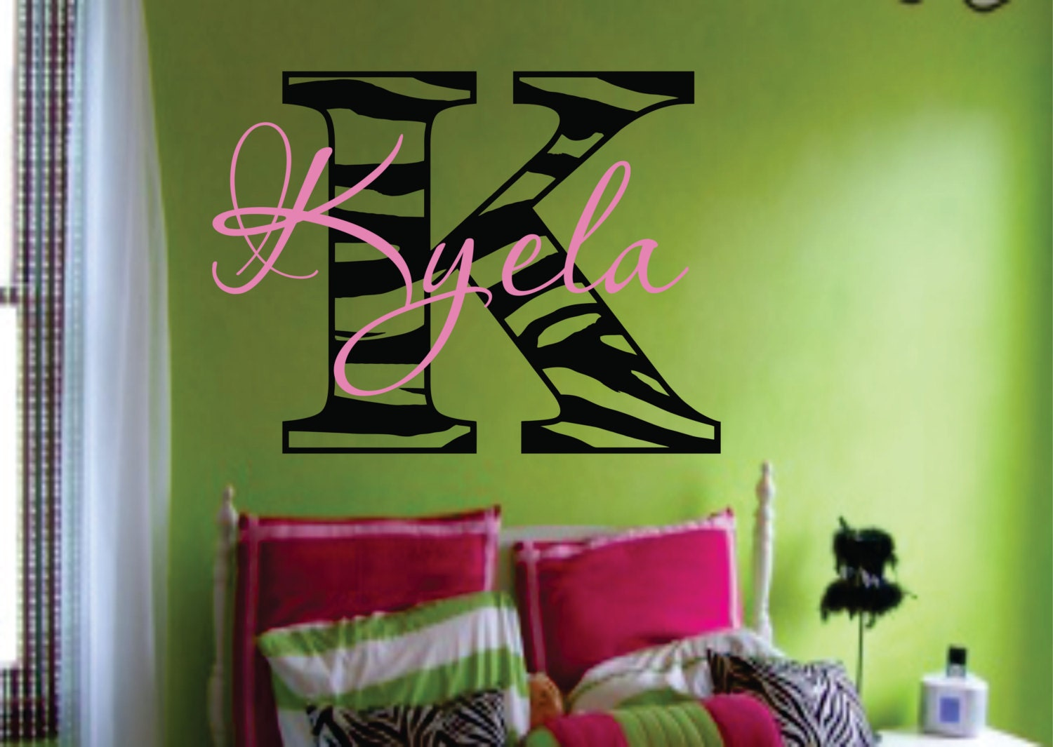 Zebra name decal Modern Chic Vinyl Wall Decal by SignJunkies