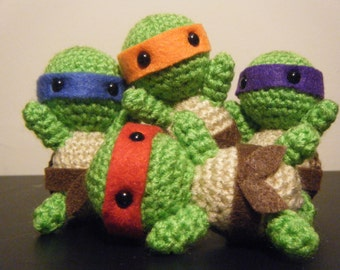Teenage Mutant Ninja Turtles Donatello, Leonardo, Michelangelo, Raphael Inspired Crochet Amigurumi Gift Set