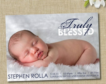 modern birth announcement. custom photo card. photo baby announcement. truly blessed
