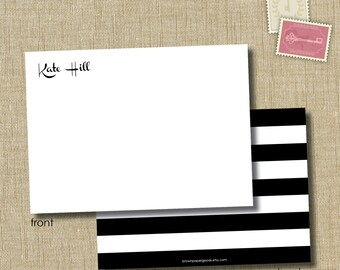 personalized flat note cards. note card set. Bold Stripes
