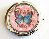 Butterfly compact mirror, mirror, purse mirror, compact mirror, pink, butterfly, gift for her, butterfly mirror, butterfly compact (2118)