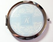 Bride compact mirror, Monogram, mirror, Something Blue, something blue for wedding, Wedding, Personalized, gift for bride  (2646)