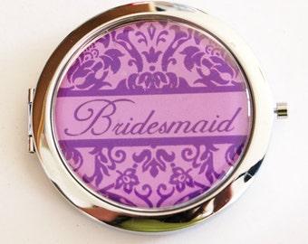 Bridesmaid mirror, mirror, Bridesmaid gift, wedding shower gift, Compact Mirror, Wedding party, Damask, you select color  (2187)