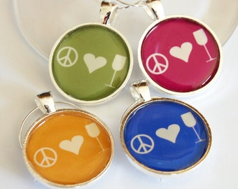Wine Charms, Wine Glass Charms, Peace Love Wine, silver plate, barware, wine lovers, entertaining, table setting, green, red (2249)