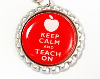 Teacher Bookmark, Keep Calm Teach On, gifts for teachers, bookmark, book mark, Shepherd Hook, gift for teacher, Red (2470)
