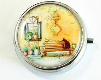 Pill Box, Pill Case, Pill Container, Provence, Landscape, Europe, Gift for her, pill case for purse  (2501)
