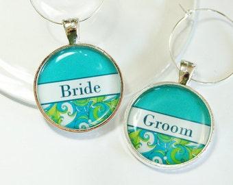 Wedding Wine Charms, Bride Groom, Wine Charms, Wedding Shower, wedding reception, table setting, turquoise blue  (2588)