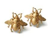 Golden Bee Cuff Link Pair