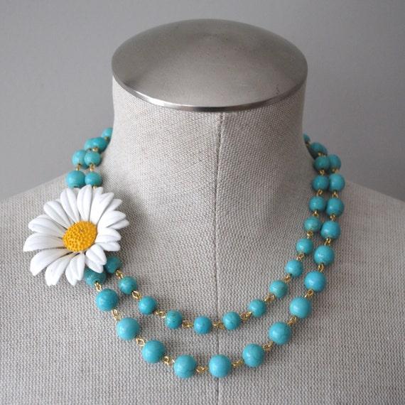 Vintage Daisy Enamel Flower Asymmetrical Necklace and Light Turquoise Blue Beads OOAK - Wedding, Bridal, Bridesmaid Statement Piece