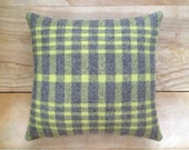 Wool Pillow - Lime Green Gray Plaid Camp Cabin