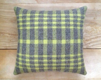 SALE Wool Pillow - Lime Green Gray Plaid Camp Cabin