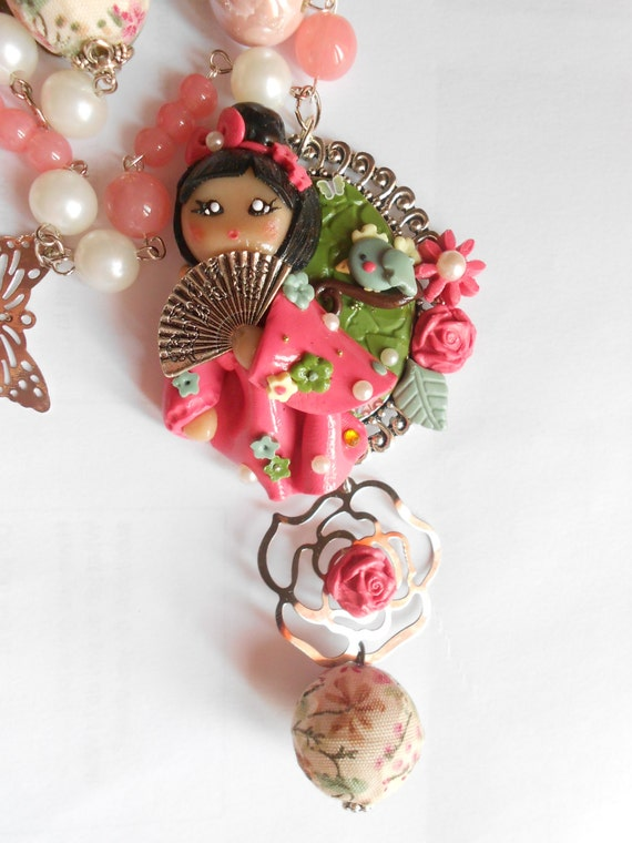 SALE Kokeshi japanese  doll sakura cherry blossom cameo necklace - handmade miniature polymer clay jewelry