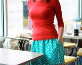 Aline Skirt with Pockets - Teal with White Flowers with Brown Accent