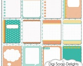 Turquoise Orange 3x4 Journal Cards, Pocket Cards,  Project Life Inspired, Printable PDF & PNG, Digital Scrapbooking, Instant Download