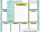 Sky Blue Bible Journal Cards  24 Project Life Style Blue & Green Pocket Cards, Printable Digital Scrapbooking, Instant Download