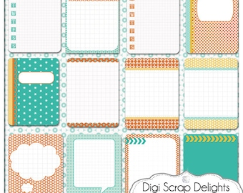 50% off Turquoise Orange 3x4 Journal Cards, Pocket Cards,  Project Life Inspired, Printable PDF & PNG, Digital Scrapbooking