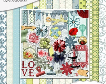 Heavenly Vintage Digital Scrapbook Kit Romantic Cottage Chic in Blue, Green, Red,  Instant Download. Limited CU