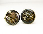Steampunk Gear Cufflinks 18mm in Resin Bronze Watchparts