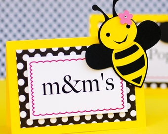 Bumble Bee Themed customized Food Tents - Name Place Cards - personalized set of 6