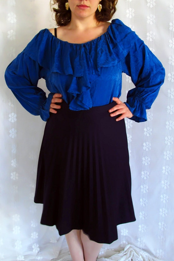 1970's  Vintage Blue Paisley Silk Ruffle Hippie Peasant top. Suzanne by the river.