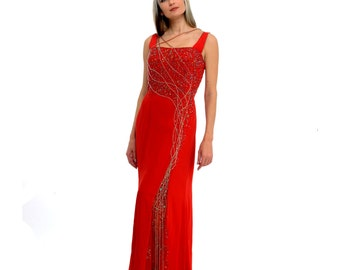 Vintage Red Sequin and Bead Encrusted Long Evening Maxi Dress bridal dress