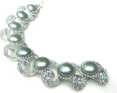 Stunning Vintage Bracelet, Gray Pearl & Blue Rhinestone Bracelet, Bridal Jewelry, Vendome Wide Bracelet