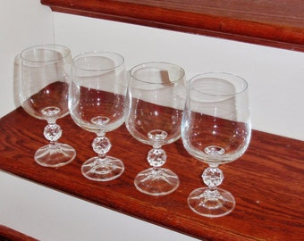 """4 CLAUDIA Water Glasses By IMPORT ASSOCIATES Clear Plain Czech Crystal Goblets 6 5/8"""" Tall Cut Ball Stems Set Four Excellent Condition"""
