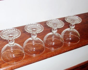 """4 BUBBLE FOOT ANCHOR Hocking Champagne Tall Sherbet Sherbert 4"""" Ice Cream Goblets Glasses Stems Clear Heavy Crystal Excellent Condition"""
