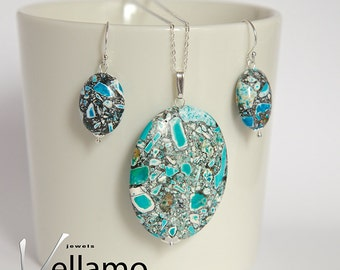 Jewelry set with ear-rings and pendant with beautiful blue with white and black mosaic turquoise gemstones, very modern, sterling silver