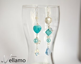 Foamy ocean long modern asymmetrical dangle sterling silver earrings with blue turquoise, Swarovski baroque, pearls, something blue