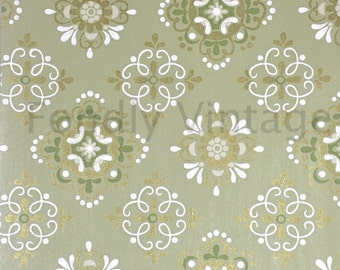 Build Your Own Custom Sample Vintage Wallpaper Packet- Single Scrap Sheet, 8 1/2 in. x 10 1/2 in. Page- Retro 70s Green and Gold Geometric