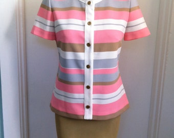 sorbet striped top with gold buttons / vintage short sleeve jacket
