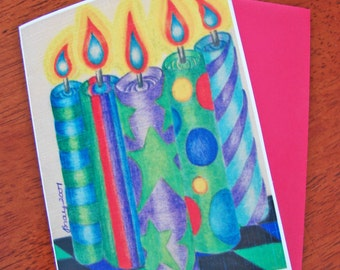 5 Birthday Candles Greeting Card