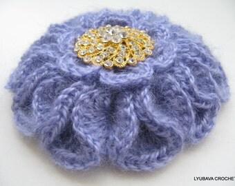 Crochet PATTERN-Crochet Brooch-3d Crochet Flower Brooch-DIY Gift-Lyubava Crochet-Craft Supply-Instant Download Pdf Digital Pattern No.86