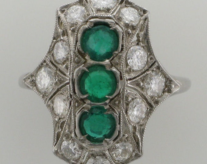 Ladies Antique Platinum Diamond and Emerald Filigree Ring