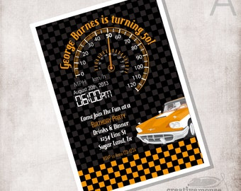 Race car party invitation FILE ONLY
