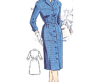 Plus Size (or any size) Vintage 1950s Dress Pattern - PDF - Pattern No 39: Beverly