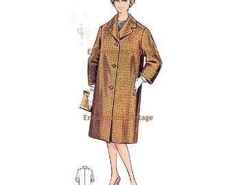 Plus Size (or any size) Vintage 1950s Coat / CoatDress Pattern - PDF - Pattern No 86 Anne