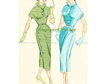Plus Size (or any size) Vintage 1949 Dress Sewing Pattern - PDF - Pattern No 49 50 Penelope