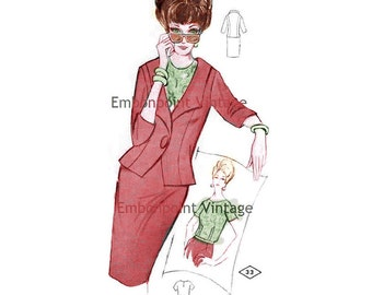 Plus Size (or any size) Vintage 1969 Women's Suit  Pattern - PDF - Pattern No 32 33 Shawna