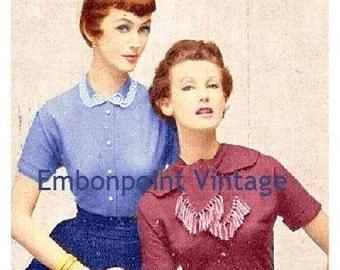 Plus Size (or any size) Vintage 1949 Blouse Sewing Pattern - PDF - Pattern No 46 47 Erma