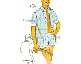 Plus Size (or any size) Vintage 1969 Shirt Pattern - PDF - Pattern No 123 Sean Shirt